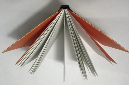 Once complete, this structure allows the pages to open flat which make it good for sketching and painting